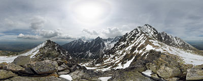 View from Lomnické sedlo in the Tatra Mountains.  Click to view this panorama in new fullscreen window