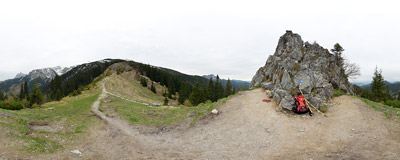 Piec ('Stove', cca 1460 m) is a small rock on the red-marked trail leading up the NW ridge of Ciemniak in the Tatra Mountains.  Click to view this panorama in new fullscreen window