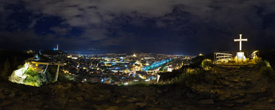 The night view of Tbilisi, the capital of Georgia, from the highest point of the Narikala Fortress that towers above the city centre.  Click to view this panorama in new fullscreen window