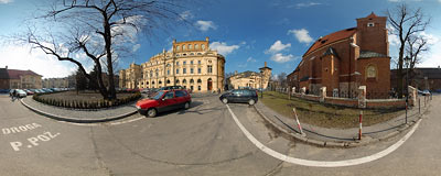 Kraków - Słowacki Theatre and Holy Cross Church.  Click to view this panorama in new fullscreen window