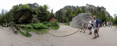 Teplické skály - under the Watchtower Rock.  Click to view this panorama in new fullscreen window