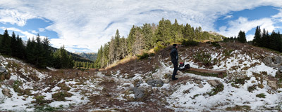 In the Tomanowa Valley, on the trail from Dolina Kościeliska to Ciemniak in the Tatra Mountains.  Click to view this panorama in new fullscreen window