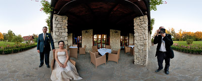 The photo session of Magda and Michał during their wedding party in Tomaszowice.  Click to view this panorama in new fullscreen window