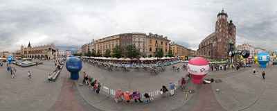 The peloton of the 69th Tour de Pologne cycling race on the Main Square in Kraków.  Click to view this panorama in new fullscreen window