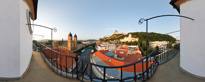 The view of Trenčín in Slovakia from a gallery of the city tower.  Click to view this panorama in new fullscreen window