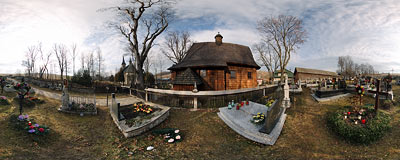 Wooden church of St. Elizabeth in Trybsz.  Click to view this panorama in new fullscreen window