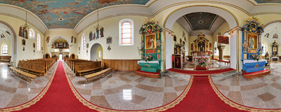 Inside St. Margaret's church in Trzciana near Bochnia.  Click to view this panorama in new fullscreen window