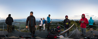 Waiting for the sunrise on the summit of Trzy Korony (Three Crowns, 982 m), the highest peak of the Pieniny Mountains.  Click to view this panorama in new fullscreen window