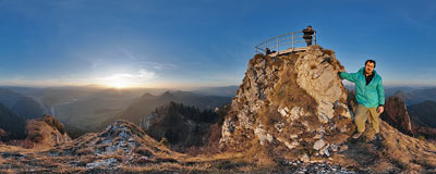 Just under the summit of Trzy Korony.  Click to view this panorama in new fullscreen window