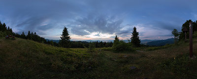 One of the shortest nights of the year starting now at Turbaczyk (1078 m) in the Gorce mountain range.  Click to view this panorama in new fullscreen window