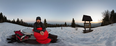 Waiting for the rising sun at Turbaczyk (1078 m) in the Gorce mountain range.  Click to view this panorama in new fullscreen window