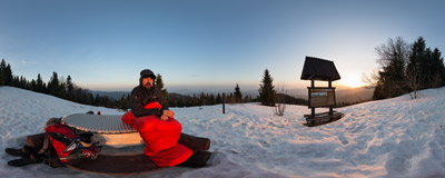 Watching the rising sun at Turbaczyk (1078 m) in the Gorce mountain range.  Click to view this panorama in new fullscreen window