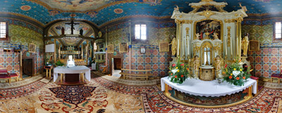 Inside the parish church of St. Nicholas the Bishop in Tymowa.  Click to view this panorama in new fullscreen window