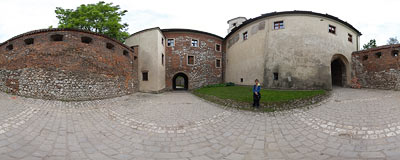 Benedictine abbey in Tyniec - entrance gate.  Click to view this panorama in new fullscreen window