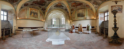 Benedictine abbey in Tyniec - old chapter house chamber.  Click to view this panorama in new fullscreen window