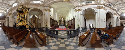 Inside the church of the Benedictine abbey in Tyniec.  Click to view this panorama in new fullscreen window