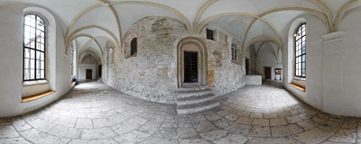 Cloisters of the Benedictine abbey in Tyniec.  Click to view this panorama in new fullscreen window