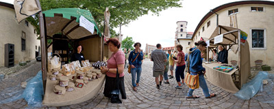 Benedictine Fair in the abbey in Tyniec.  Click to view this panorama in new fullscreen window