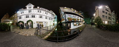 The Schiefes Haus ('Crooked House'), the landmark of Ulm, Germany.  Click to view this panorama in new fullscreen window