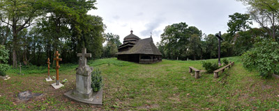 The 17th-century Eastern Orthodox wooden church of the Ascension in Ulucz, Southeast Poland.  Click to view this panorama in new fullscreen window