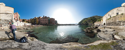On the beach :-) in Vernazza, Cinque Terre, Italy.  Click to view this panorama in new fullscreen window