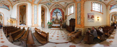 THe Holy Cross Chapel in the church of the Presentation of the Blessed Virgin Mary in Wadowice.  Click to view this panorama in new fullscreen window