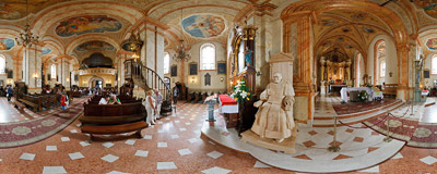 Inside the church of the Presentation of the Blessed Virgin Mary in Wadowice.  Click to view this panorama in new fullscreen window