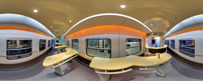 A modern PKP Intercity dining car.  Click to view this panorama in new fullscreen window