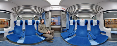 Inside a 2nd class compartment of a modern PKP Intercity railroad coach.  Click to view this panorama in new fullscreen window