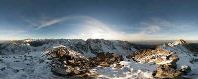 On the summit of Waksmundzki Wierch (2186 m) in the Tatra Mountains.  Click to view this panorama in new fullscreen window