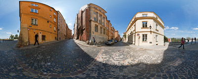 Warsaw Old Town - corner of Celna and Brzozowa streets.  Click to view this panorama in new fullscreen window