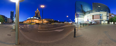 Emilii Plater Street in Warsaw.  Click to view this panorama in new fullscreen window