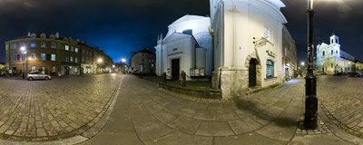 Freta Street in Warsaw's New Town at night.  Click to view this panorama in new fullscreen window