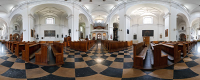 The 17th century church of St. Hyacinth on Freta Street in Warsaw.  Click to view this panorama in new fullscreen window