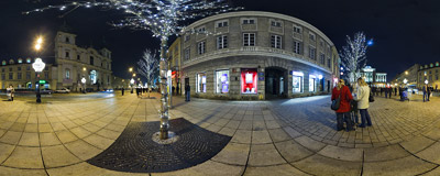 Christmas lights on the streets of Warsaw.  Click to view this panorama in new fullscreen window