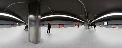 Warsaw underground - Ratusz Arsenał station, opened in May 2001.  Click to view this panorama in new fullscreen window