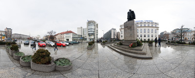 The monument of Wincenty Witos on Plac Trzech Krzyży ('Three Crosses Square') in Warszawa.  Click to view this panorama in new fullscreen window
