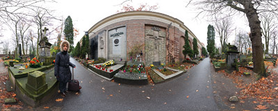 The Walk of Honour part of the Powązki Cemetery (Cmentarz Powązkowski) in Warsaw.  Click to view this panorama in new fullscreen window