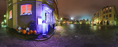 The November evening on the Old Town Market Square in Warsaw.  Click to view this panorama in new fullscreen window