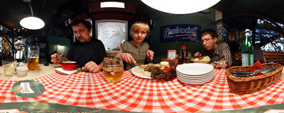 Lunch in the U Szwejka restaurant in Warsaw.  Click to view this panorama in new fullscreen window