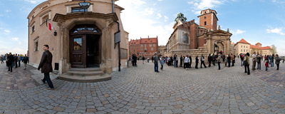 People waiting to go inside the crypt of the Wawel Cathedral where bodies of the Polish presidential couple were laid a day before.  Click to view this panorama in new fullscreen window