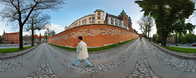 Wawel Royal Castle in Kraków.  Click to view this panorama in new fullscreen window