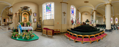 Holy Trinity church in Wejherowo - side altar.  Click to view this panorama in new fullscreen window