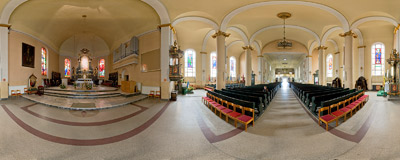 Holy Trinity church in Wejherowo.  Click to view this panorama in new fullscreen window