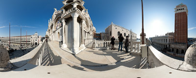 Loggia dei Cavalli — the balcony on the front of St. Mark's Basilica in Venice with a fantastic view of St. Mark's Square.  Click to view this panorama in new fullscreen window