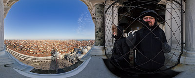 On the campanile of St. Mark's Basilica in Venice.  Click to view this panorama in new fullscreen window