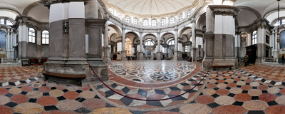 Inside the 17th-century church of Santa Maria della Salute in Venice.  Click to view this panorama in new fullscreen window