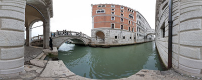 The famous Ponte dei Sospiri — the Bridge of Sighs — in Venice, Italy.  Click to view this panorama in new fullscreen window
