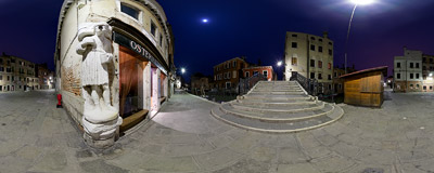 On the corner of Campo dei Mori in the Cannaregio district of Venice, Italy.  Click to view this panorama in new fullscreen window