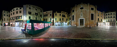 Campo San Aponal in the San Polo sestiere of Venice, Italy.  Click to view this panorama in new fullscreen window